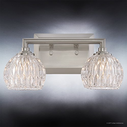 Luxury Crystal Bathroom Vanity Light, Medium Size: 6.25''H x 12.5''W, with Classic Style Elements, Brushed Nickel Finish and Marquis Cut Glass Shades, G9 LED Technology, UQL2620 by Urban Ambiance by Urban Ambiance (Image #3)