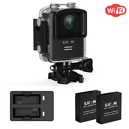 SJCAM M20 4K Action Camera Sports Camera WiFi Cam Wide-Angel and GYRO 1.5 inch LCD Screen 30M Water Resistant with 2Extra Batteries+ Dual Charger,Waterproof Underwater Cam case -Black
