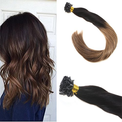 Sunny Ombre Pre Bonded U tip Human Hair Extensins 1b/6# Natural Black to Brown 14 Inches Silky Straight Two Tone Remy Human Hair - 2 Usps Days Pre For Shipment
