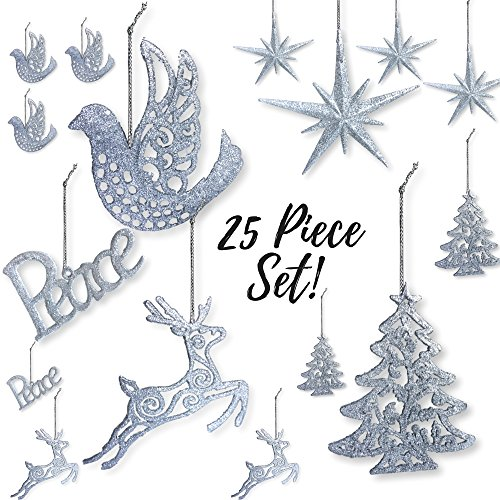 BANBERRY DESIGNS Silver Christmas Decorations - Pack of 25 Shatterproof Xmas Ornaments - Peace, Dove, Christmas Tree, Reindeer and Moravian Stars - Glittered Holiday Tree Ornaments ()