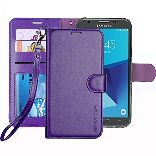 Galaxy J7 V / J7 Perx / J7 Sky Pro / J7 Prime / J7 2017 / Galaxy Halo Case, ERAGLOW Luxury PU Leather Wallet Flip Protective Case Cover with Card Slots and Stand for Samsung Galaxy J7 2017 (Purple)