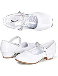 Girls Mary Jane Shoes Low Heel Party Dress Shoes for Kids
