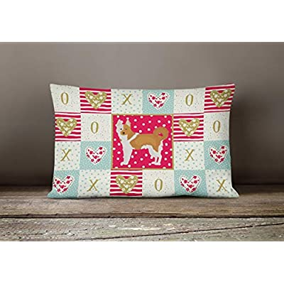 Caroline's Treasures CK5869PW1216 Nordic Spitz Love Canvas Fabric Decorative Pillow, 12H x16W, Multicolor : Garden & Outdoor