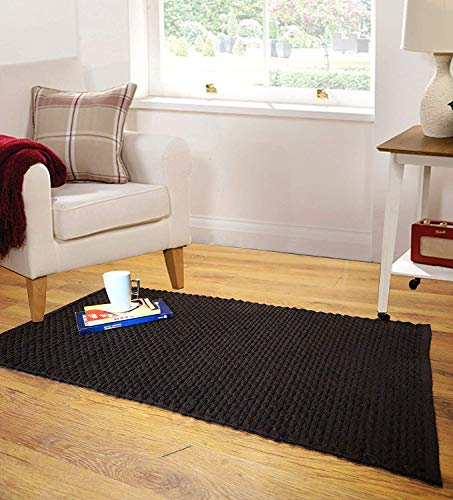 (The Home Talk Cotton Recycled Yarn Area Rug, Loop and Knots, Hand Woven Floor Rug Throw Rugs Kitchen Runner for Bedroom Kitchen (24x44 INCH, Brown))
