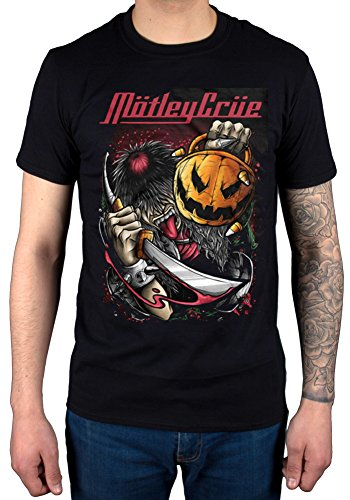 AWDIP Men's Official Motley Crue Halloween Pumpkin Slash T-Shirt Band Rock Heavy Metal -