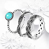 New Antique 925 Silver Turquoise Birthstone Stackable Ring Set Wedding Party by khime (8)