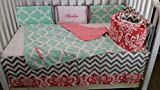 Baby Crib bedding, Coral Damask, Mint Quatrefoil, Grey chevron, Embroidered,personalized,Monogrammed, Custom Handmade, Quilt, bumper, Bed skirt