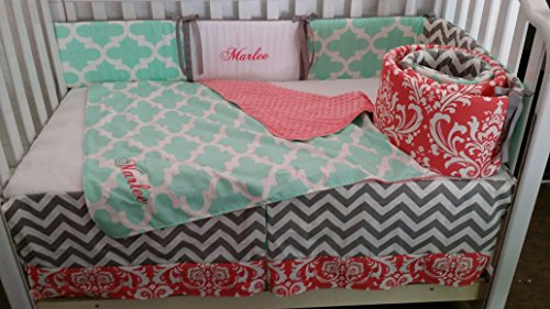 Baby Crib bedding, Coral Damask, Mint Quatrefoil, Grey chevron, Embroidered,personalized,Monogrammed, Custom Handmade, Quilt, bumper, Bed skirt by CozyCreations Heather Reynolds