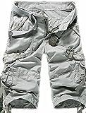 Generic Men 3/4 Length Multi Pocket Solid Cargo Shorts Light grey 36