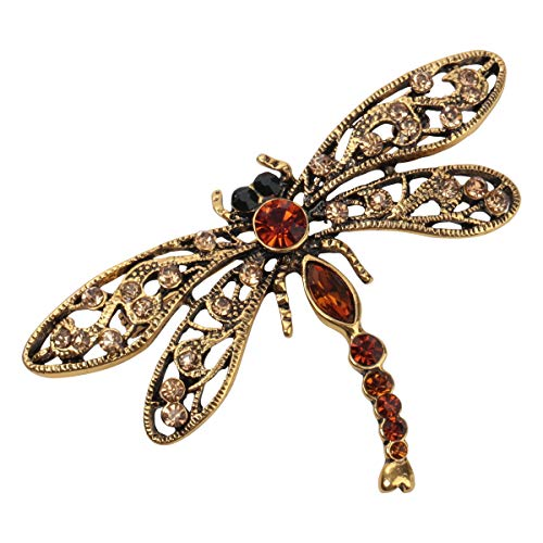 Hiddlston Crystal Dragonfly Custom Collection Stretch Antique Statement Dome Butterfly Flower Wide Band Lavender Ring Halloween Christmas Costume Accessories Jewelry Gift Women Girl (Bronze)