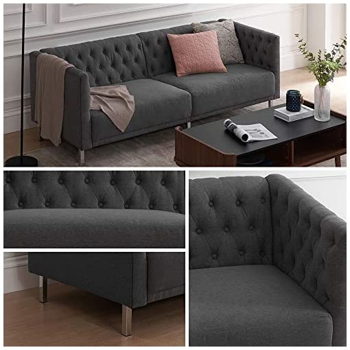 Living Room mopio Aiden Modern Sofa, Contemporary Couch for Living Room, Tufted Design with Sturdy Chrome Legs and Classic Fabric… modern sofas and couches