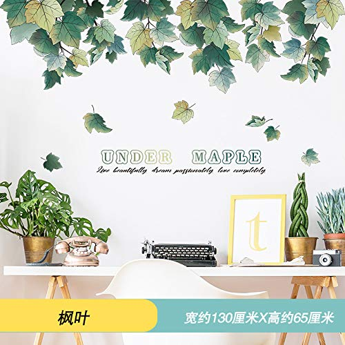 - Wall Stickersins Small Fresh Living Room Bedroom Background Wallpaper Wallpaper Room Wallpaper Self-Adhesive Wall Decoration Paste Green Plant,Maple Leaf (New Mosaic),Extra Large