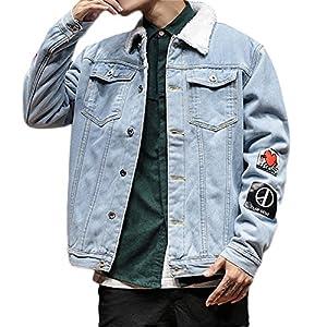 Plaid&Plain Men's Regular Fit Printed Borg Collar Sherpa Jean Denim Jacket