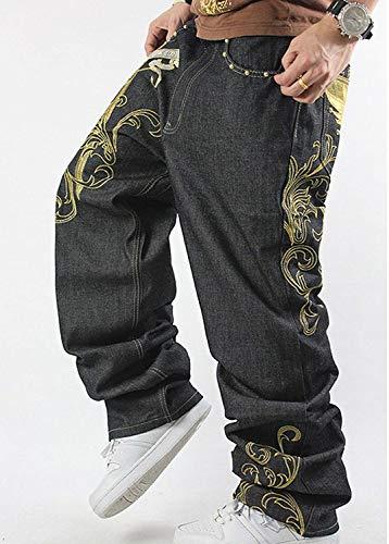 Taglie Stampato Denim Comode Colour Jeans Da Hip Larghi Abiti Uomo Moda Di hop Pantaloni Alla Vintage Classici Stampati IwqZHBRc