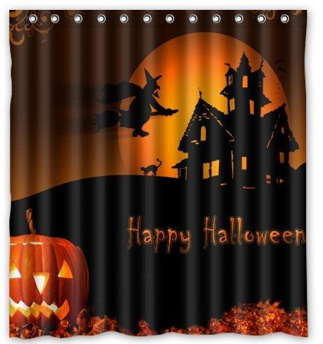 Custom Halloween Pumpkin Waterproof Polyester Fabric Shower Curtain 66