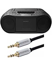 Sony CFDS70-BLK CD/MP3 Cassette Boombox Home Audio Radio, Black, With Aux Cable
