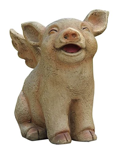 Hi-Line Gift Ltd Sitting Pig with Wings Laughing Statue For Sale