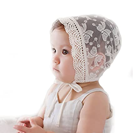 0704c04456e Image Unavailable. Image not available for. Color  Funkeet Baby Bonnets for  Girls Summer Lace Hat Beanie Newborn Infant Cap White