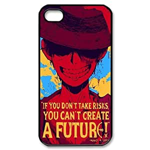 [One Piece Series] IPhone 4/4s Cases One Piece Quote.If You Don't Take Risks,You Can't Creat a Future., Bloomingbluerose - Black