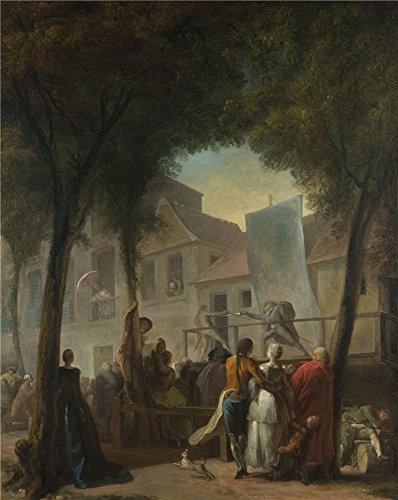 The Perfect Effect Canvas Of Oil Painting 'Gabriel Jacques De Saint Aubin A Street Show In Paris ' ,size: 30 X 38 Inch / 76 X 96 Cm ,this Imitations Art DecorativePrints On Canvas Is Fit For Living Room Decor And Home Gallery Art And Gifts -