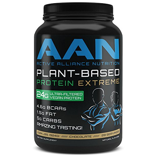 AAN Plant-Based Protein EXTREME Vegan Post Workout Recovery Shake - Naturally Sweetened, 28 servings 2.04 LBS (Chocolate)