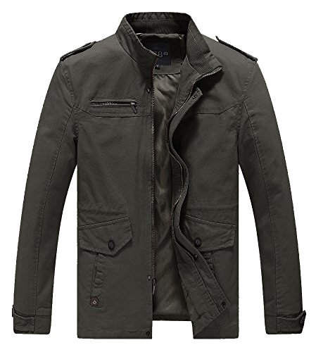 Lega Mens Cotton Classic Pea Coat Spring & Fall & Winter Ourdoor Jacket(Green/US Small/Asia - Fall Mens Style