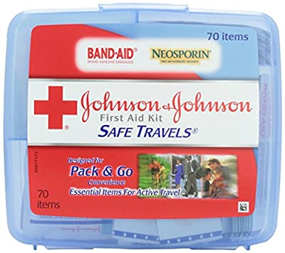 Johnson & Johnson Red Cross Save Travels First Aid Kit, 70 items, (Pack of 2) from Johnson & Johnson Red Cross