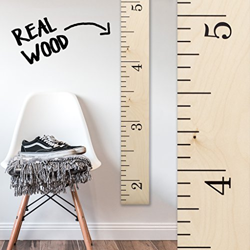 Growth Chart Art | Hanging Wooden Height Growth Chart to Measure Baby, Child, Grandchild - Naked Birch Classic Schoolhouse Ruler with Inches - Wall Decoration for Girls and Boys - 58''x5.75'' by Growth Chart Art