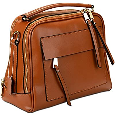 Yahoho Women's Double Zipper Genuine Leather Shoulder Handbag Cross Body Bag