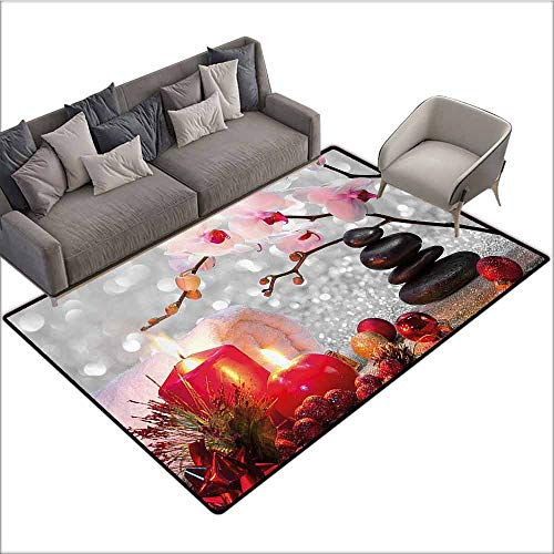 - Dining Table Rugs Spa Decor,Winter Christmas Theme with Pink Orchid Stone and Red Candles Image,Red Pink Black and White 48