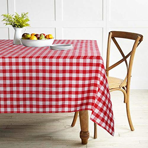ColorBird Buffalo Plaid Tablecloth Cotton Linen Checkered Tablecloth for Home Kitchen Dining Party Picnic Indoor Outdoor Use (Rectangle/Oblong, 55 x 120 Inch, Red)