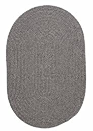 Solid Braided Wool Area Rug 2ft. x 3ft. Oval Gray Simple Soft Carpet
