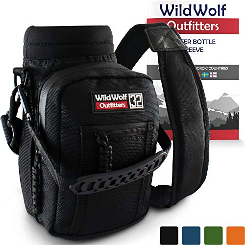 Wild Wolf Outfitters Water Bottle Holder for 32oz Bottles Black - Carry, Protect and Insulate Your Best Flask with This Military Grade Carrier w/ 2 Pockets & an Adjustable Padded Shoulder Strap. ()