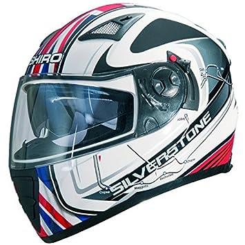 Shiro SH-3700 GP Silverstone - Casco integral de moto (doble pantalla),