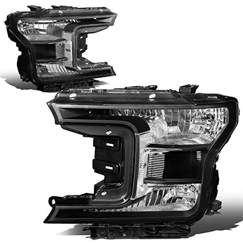 2018 Ford Pickup Truck Headlights - DNA MOTORING HL-OH-F15018-BK-CL1 Factory Style Headlight Lamp Set Replacement