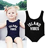 TiTCool Baby Girls Swimsuit One Piece Bathing Suit Cute Island Vibes Print 0-24M (6M, Black)