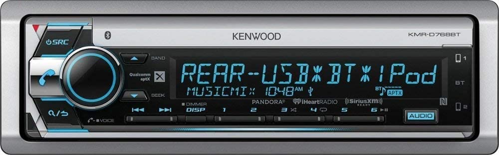 Kenwood KMR-D768BT Marine CD Receiver with Bluetooth with Gravity Magnet Phone Holder Bundle