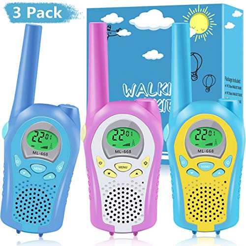 Nestling Walkie Talkie 3 Pack,8 Channels 2 Way Radio toy with Backlit LCD Flashlight,Easy to Use 3 Miles Range for Kids Indoor Outdoor Activity,Best gift