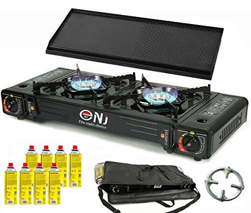 NJ DS-22 Dubbele campingkooktoestel, 2 branders, 5 kW + grillplaat + 8 gaspatronen + Phönix gasfornuis + draagtas