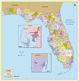 Amazon.com : South Florida Zip Codes Map - Laminated (36\
