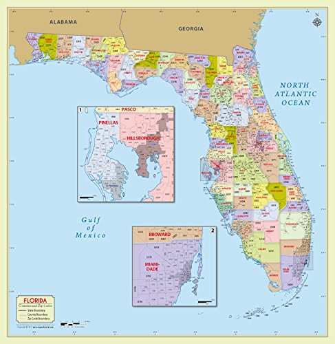 Florida County With Zip Code Map  36  W X 37  H