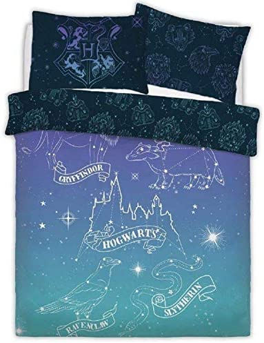 Blue//Gray Full Harry Potter Crest Panel Full Duvet Set