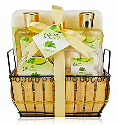Spa Gift Basket with Rejuvenating Green Tea Fragrance - Great Wedding, Mothers day, Birthday or Anniversary Gift for Women - Spa Bath Gift Set Includes Bubble Bath, Bath Salts, Bath Bombs and More!