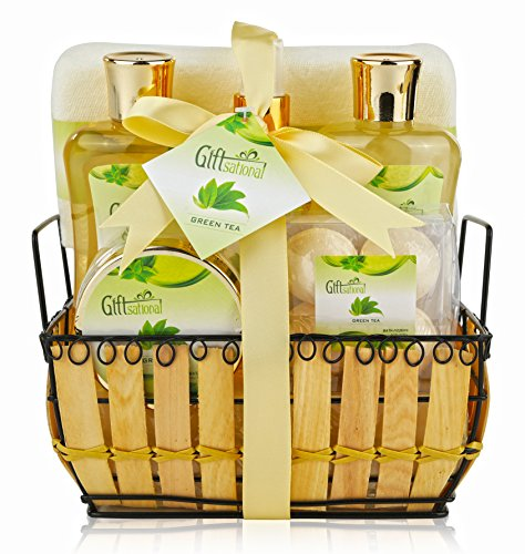 Green Tea Spa Gift (Spa Gift Basket with Rejuvenating Green Tea Fragrance - Great Wedding, Birthday, Anniversary or Graduation Gift for Women - Spa Bath Gift Set Includes Bubble Bath, Bath Salts, Bath Bombs and More!)