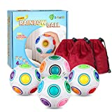 D-FantiX Rainbow Puzzle Ball 4 Pack, Magic Rainbow Ball Puzzle Cube Fidget Ball Puzzle Brain Teaser Fidget Toys for Adult Kids White