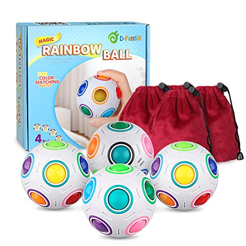 D-FantiX Rainbow Puzzle Ball 4 Pack, Magic Rainbow Ball Puzzle Cube Fidget Balls Puzzle Brain Games Fidget Toys for Adult Kids White -