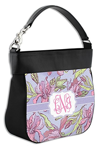 Purse Back Genuine Personalized Orchids amp; Front Hobo Leather Trim w SfqwwA5xPg