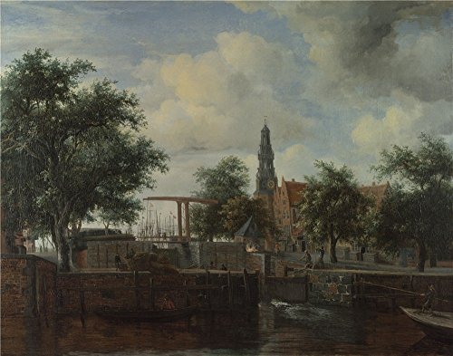 Oil Painting 'Meindert Hobbema The Haarlem Lock Amsterdam' 30 x 38 inch / 76 x 97 cm , on High Definition HD canvas prints is for Gifts And Garage, Home Theater And Living Room Decoration