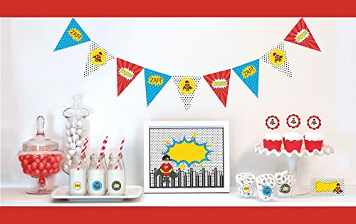 Super Hero Decorations Starter Kit Birthday Favors (EB) (1, Red) by Eventblossom