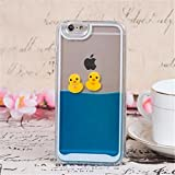 Hard Plastic Liquid Duck Case for Apple iPhone 4/4S,Floating Happy Lovely Rubber Jingle Bell Duck in Blue Water Swimming Fun Together Non-Slip Smooth Clear Texture Hard Transparent Plastic Case Cover for Apple iphone 4/4S(4/4S Duck Dark Blue)